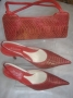 Red Snake skin Leather