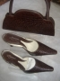 Dark brown croc skin set